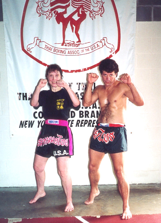 CYNDY JONES WITH KEVIN SEAMAN AFTER PASSING LEVEL II TEST IN MUAY THAI
